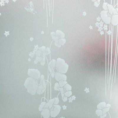 Tryck vita blommor pÃ¥ stjälk - Statisk fönsterfilm - Frostad med ... : fönsterfilm : Fönster